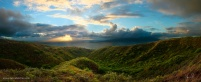 photo is a panoramic from the east side of Molokai. Maui is the island in the distance. Getting here was an incredible and gnarly 90 minute off road adventure that we had to do in the pre sunrise dark. I scouted this location and the route on the previous day and was happy to get up here and sit in the high grass in the predawn light and enjoy the cleanest. air. ever. and the fading stars before the sunrise. (6:20AM)
